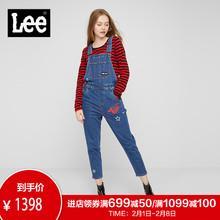Lee商场同款漫威女款19年新款蓝色背带牛仔裤L139873AZ15W图片