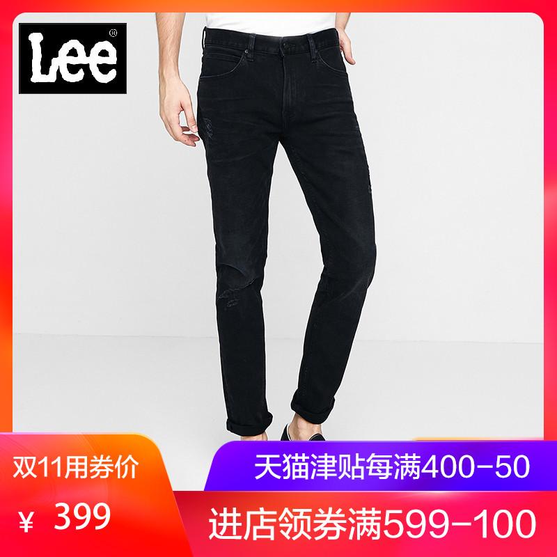 Lee男款黑色修身小脚九分牛仔裤新款L117093SW9BH,新款lee牛仔裤