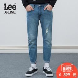 Lee男装 18春夏新品X-line破洞裤脚毛边水洗牛仔裤LMS7061VJ8MR