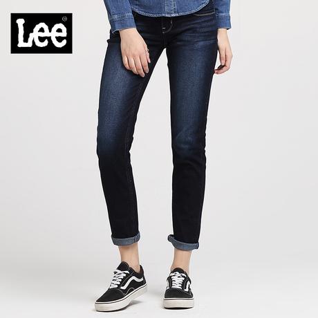 Lee女装 18春夏新品修身刺绣九分牛仔裤LWS4033AP8BB商品大图