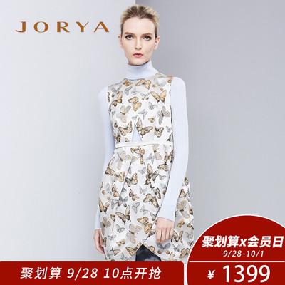 JORYA欣贺卓雅秋季气质蝴蝶印花无袖连衣裙I1403901