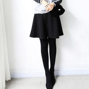 日本站松紧高腰纯色A字裙女秋冬新款弹力修身简约半身裙显瘦半裙