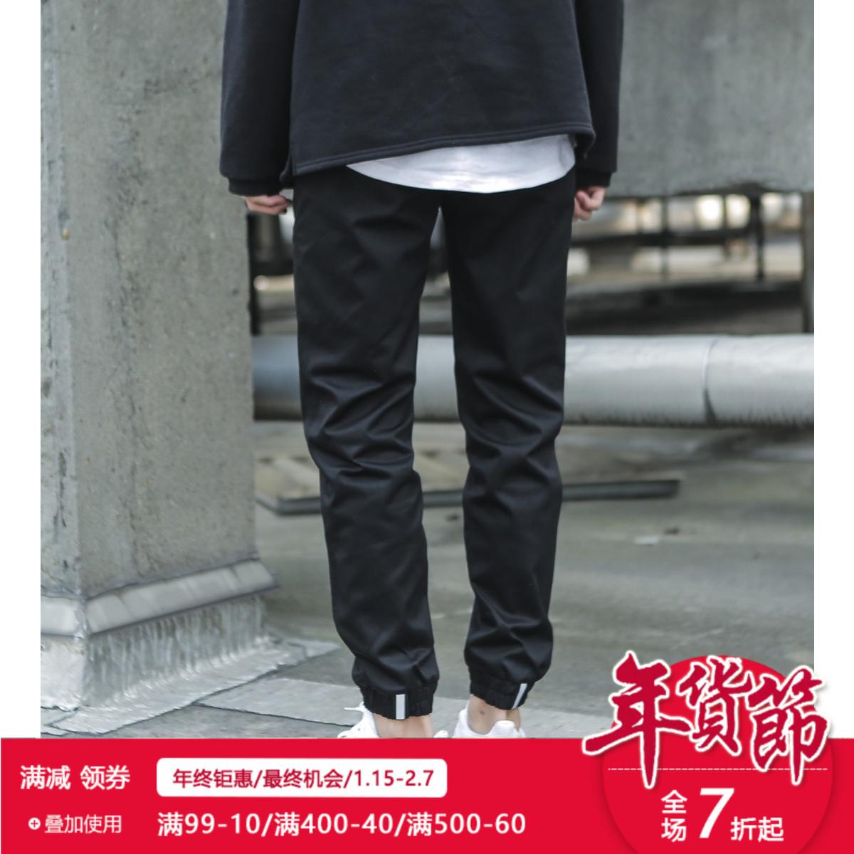 CieloVista潮牌3M反光束脚裤收腿裤口袋工装休闲裤运动卫裤男秋冬