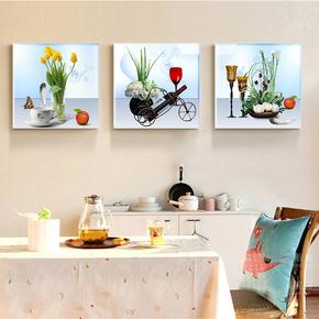 餐厅装饰画三联现代简约饭厅挂画欧式餐厅墙面装饰画个性创意壁画