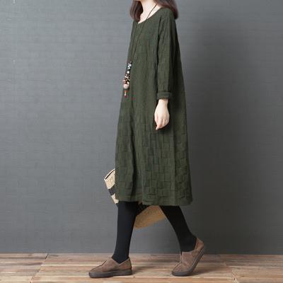 十暮棉秋季女装2018新款韩版宽松大码圆领纯棉长款毛衣裙