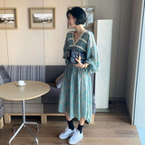 Maternity wear 2019 ins Korea spring V-neck floral skirt long paragraph puff sleeves pregnant women skirt dress cute