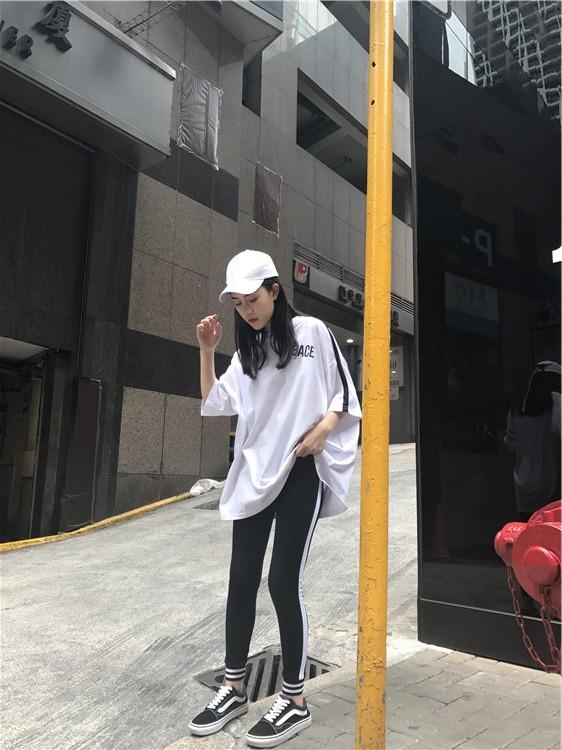 港风宽松休闲半袖T恤+白杠小脚运动裤套装女2018新款夏韩版潮学生