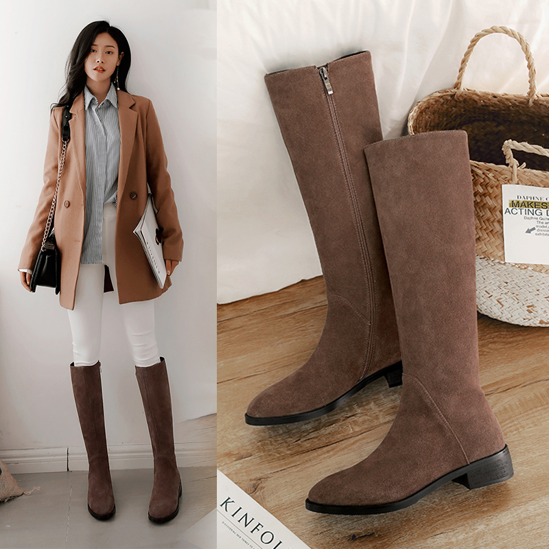 高靴磨砂平底靴子女鞋秋冬款真皮高桶长靴冬天长筒靴低跟圆头纯皮