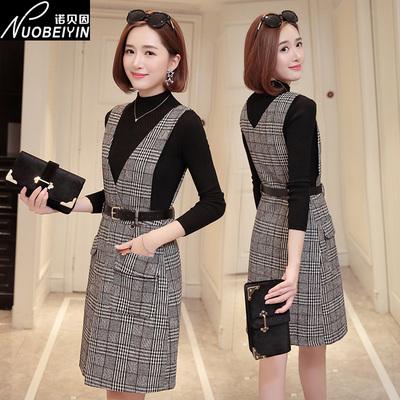毛呢连衣裙女中长款2018新款秋冬季韩版修身显瘦背心裙格子背带裙