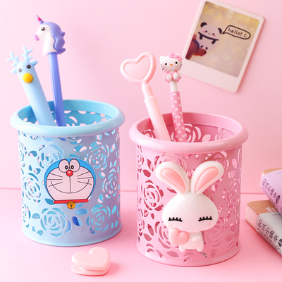 韩国文具可爱ins日系少女小笔筒创意时尚卡通办公收纳盒桌面摆件