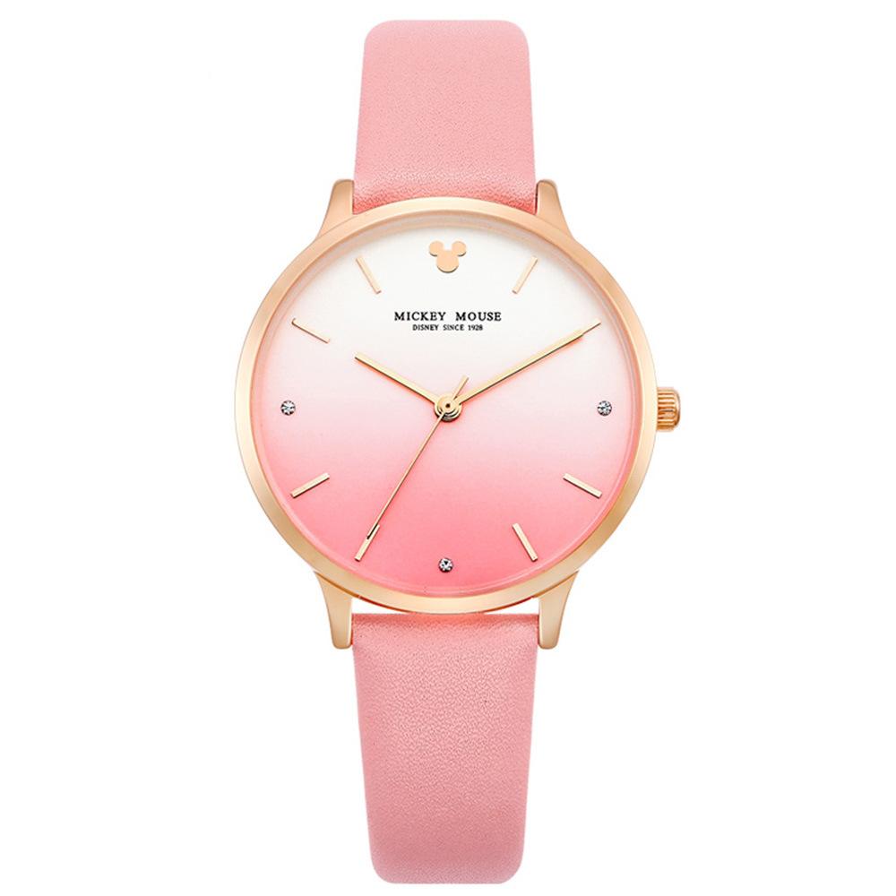 迪士尼手表时尚潮流渐变色彩石英表中学生皮带水钻女表 MK-11187