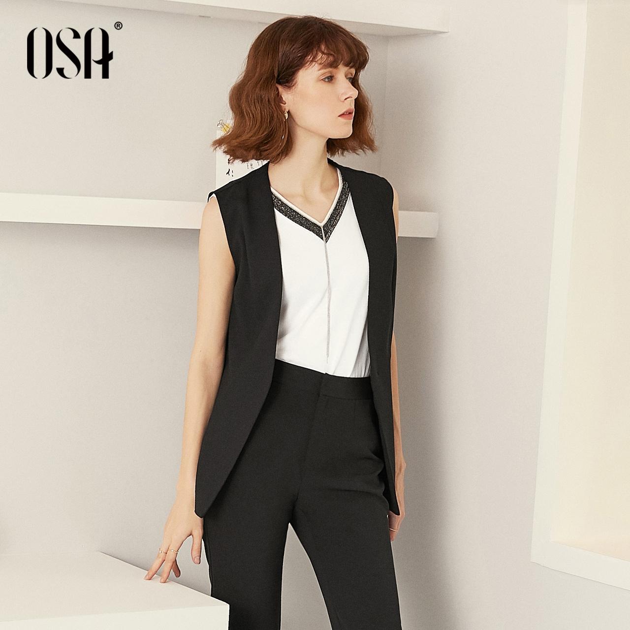 OSA欧莎马甲夏天外穿女2019外搭开衫西装坎肩马夹薄款开叉外套潮