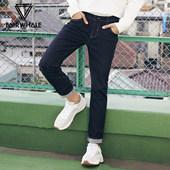 马克华菲男装2019春装新款时尚潮流纯色丹宁牛仔裤男士修身小脚裤