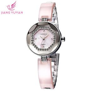 威琴WeiQin时尚简约女士表镶钻装饰贝壳表面圆形表盘手表