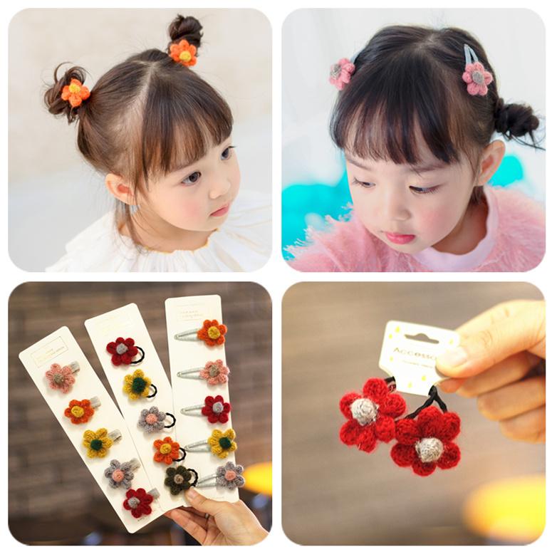 韩国儿童发饰品宝宝婴儿发卡女童毛线花朵公主百搭可爱bb边夹头饰