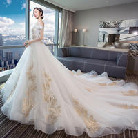 2019 new one-shoulder wedding dress bride slim pregnant women big tail wedding dress Europe and America light wedding dress