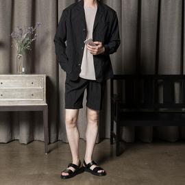 学生条纹西服套装男士韩版潮流英伦风休闲短裤西装衬衫薄款夏长袖图片