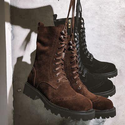 【王果果】粗跟马丁靴女鞋磨砂真皮厚底短靴棕色系带中筒机车靴子