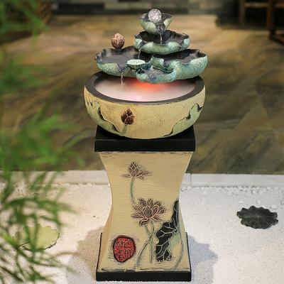 创意喷泉流水摆件招财风水球水景加湿器中式风水轮客厅桌面小鱼缸