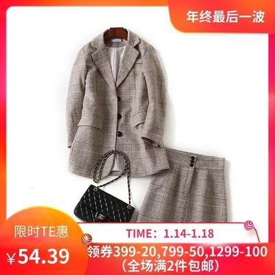韩国单 Mi**家 chic复古气质混色格纹西装外套+短裙套装ZJN809209
