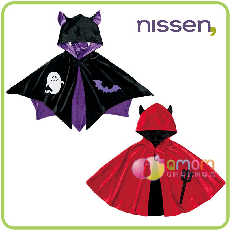 日本nissen童装万圣节服装魔鬼儿童披风斗篷秋冬外出带帽披肩新款