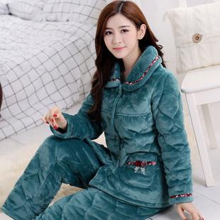 珊瑚绒夹棉睡衣女冬季三层加厚加大码睡衣长袖法兰绒夹棉袄家居服