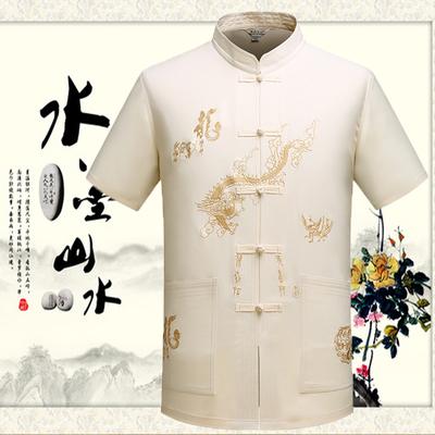 夏季短袖唐装中国风中老年人男士薄款衬衫立领民族服装上衣爷爷