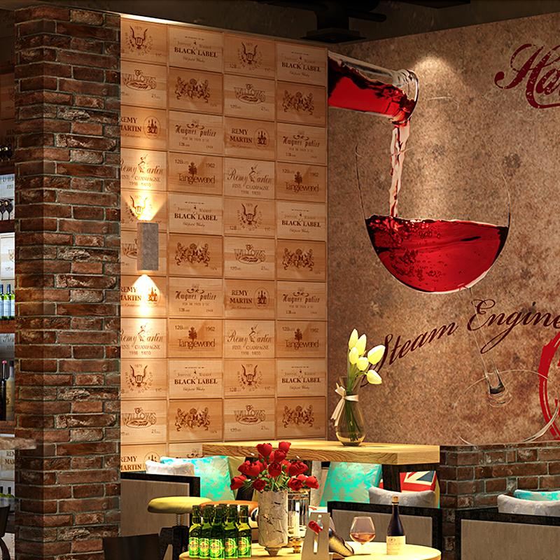 红酒酒庄墙纸复古怀旧中式古典仿木纹木板立体壁纸酒吧餐厅背景3D