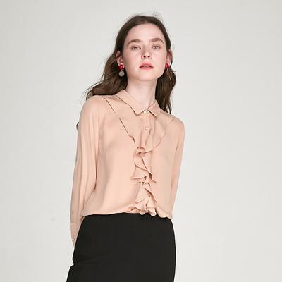 WCS01091 茉莉雅集 别致小心机 荷叶边珍珠扣重磅真丝衬衫