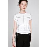 [MLEZT277]茉莉雅集 法式窗纹格 日本纱线 夏薄款圆领针织衫