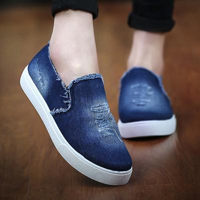 夏季42特大码女鞋41-43平跟帆布鞋情侣牛仔布鞋老北京懒人单鞋潮