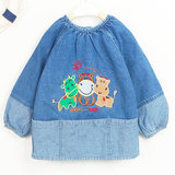 Clearance specials Aobeimei authentic cotton denim baby smock buckle all-inclusive children anti-dressing variety