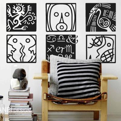 玛雅文化 创意酒吧咖啡馆橱窗个性表情墙贴纸 客厅卧室装饰抽象画