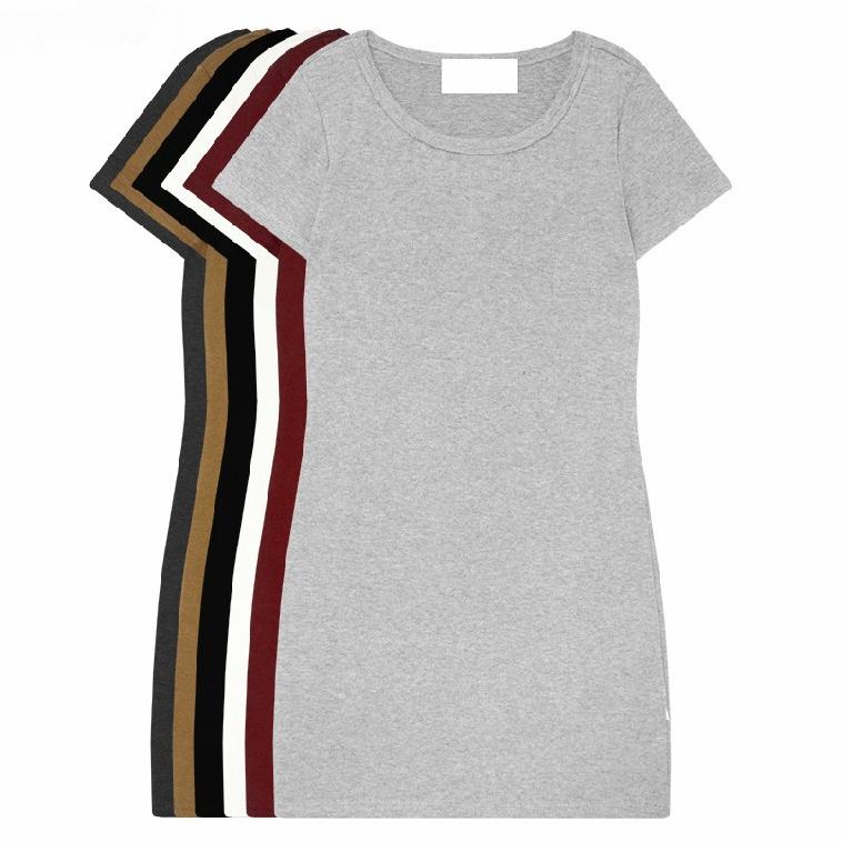 大码中长款短袖包臀t恤裙女