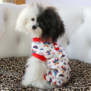 宠物小熊超人纯棉宠物春夏四脚衣 狗狗泰迪比熊宠物衣服睡衣