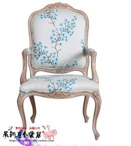 厂家直销特价实木雕花 单人沙发椅 法式美式 乡村布艺老虎椅