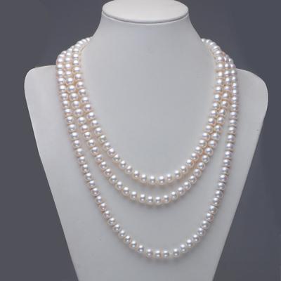 卡诺辛蒂8-9天润淡水珍珠项链毛衣链多层强光长款送妈妈礼物正品