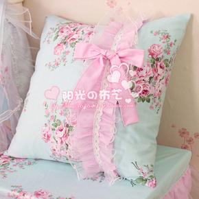 阳光布艺 韩式田园蓝色大花可爱公主方型沙发抱枕/靠垫套不含芯