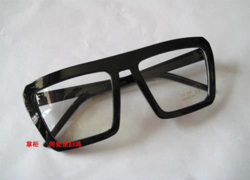 萝莉风格欧美风 复古方框黑色粗框平光镜框架眼镜