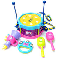 Happy musical instrument set 5 piece waist drum sand hammer number hand bell ring combination baby children music toy