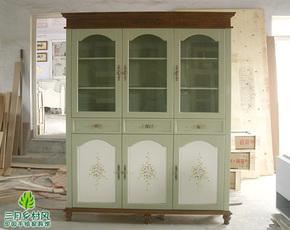 【三月乡村风】美式田园风格手绘家具玻璃大展柜书柜彩绘实木家具