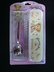 【特价】不锈钢高档礼品旅行餐具套装 可爱小熊勺筷叉套装