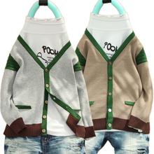 外套 童装 儿童宝宝毛衣外套纯棉v领开衫 男童针织衫 2014春秋新款