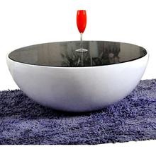 【天天特价】 创意碗 个性黑白钢化玻璃茶几简约时尚圆形客厅家具