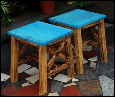 实木餐椅 地中海风格 做旧款椅子 实木凳子 独凳方凳n17