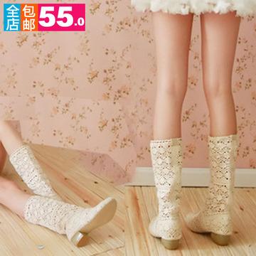 包邮全镂空高等网靴布靴短春夏单靴凉靴鞋子中筒靴低跟女靴子现货