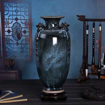 景德镇陶瓷器三阳开泰窑变复古花瓶中式客厅博古架装饰工艺品摆件