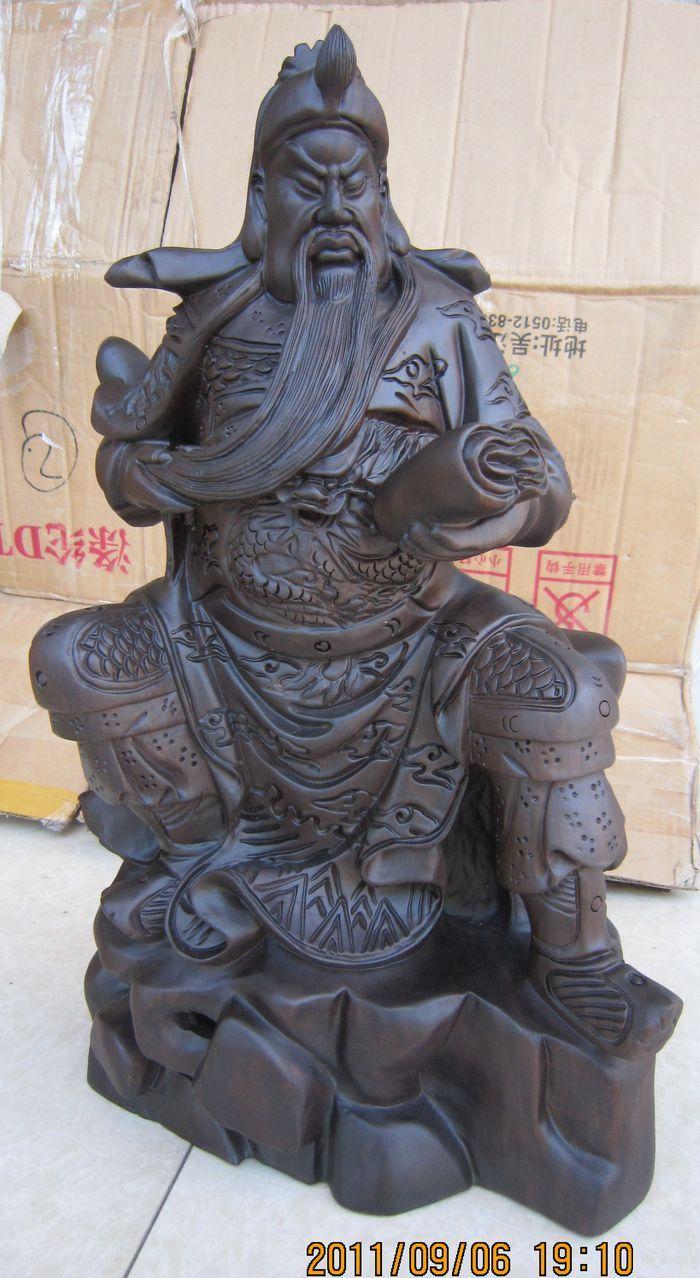2018越南红木工艺品 木雕摆件 黑檀木 夜读春秋 文财神 关公 海外
