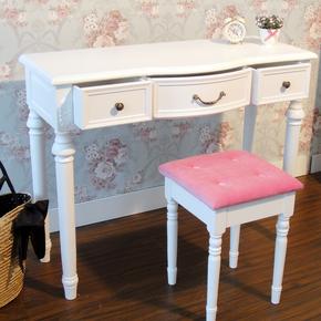 美式电脑桌台式家用田园书桌学习桌现代简约写字台实木办公桌白色