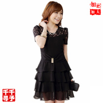 JK加肥加大码女装2017夏装新款#柔美蕾丝亮扣层层摆修身连衣裙3XL